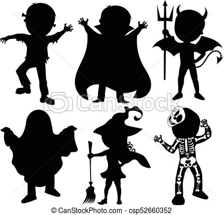 450x433 Silhouette Of Kids Or Children Wearing Halloween Costumes