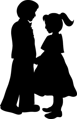 324x500 Clip Art Illustration Of Litte Kids Formal Dancing Silhouette