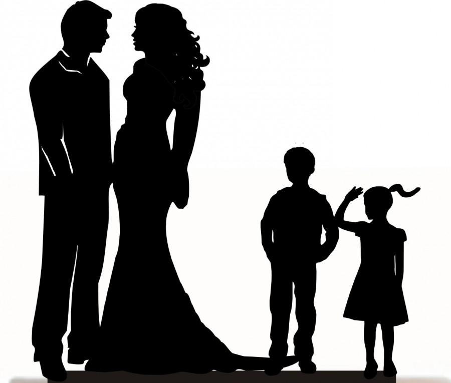 900x765 Custom Wedding Cake Topper , Couple Silhouette And Any Kid