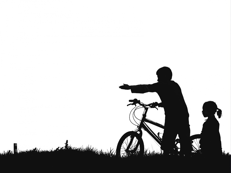 960x719 Free Photo Kids Pointing Silhouette Bike Black And White
