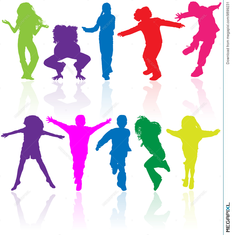790x800 Group Of Happy School Active Children Silhouette Jumping Dancing
