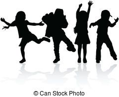 Silhouette Kids Playing