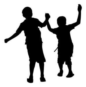 297x300 Happy Kids Playing Silhouette Royalty Free Stock Image