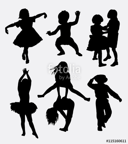 446x500 Kids Playing Silhouette. Male And Female Children Gesture. Good