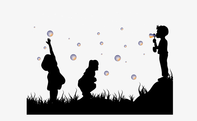 650x400 Silhouettes Of Children Playing On The Grass, Children, Grassland