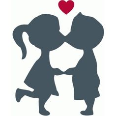236x236 Silhouettes Of Kissing Boy And Girl Cienie