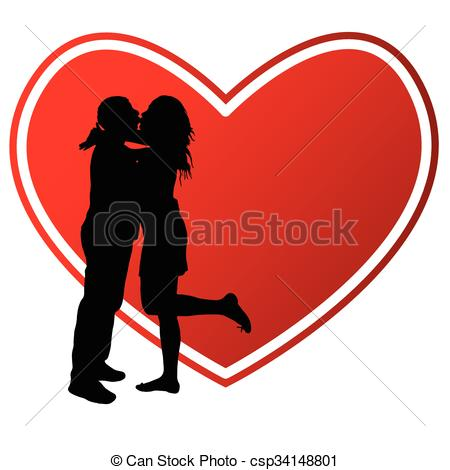 450x470 Couple Kissing With Heart Illustration Silhouette. Couple