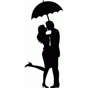 300x300 Umbrella Kiss Silhouette Design, Silhouettes And Cricut