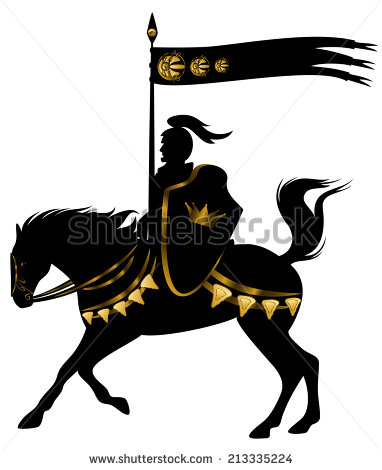 382x470 Stock Photo Knight In Black And Gold Armor With A Spear Standard