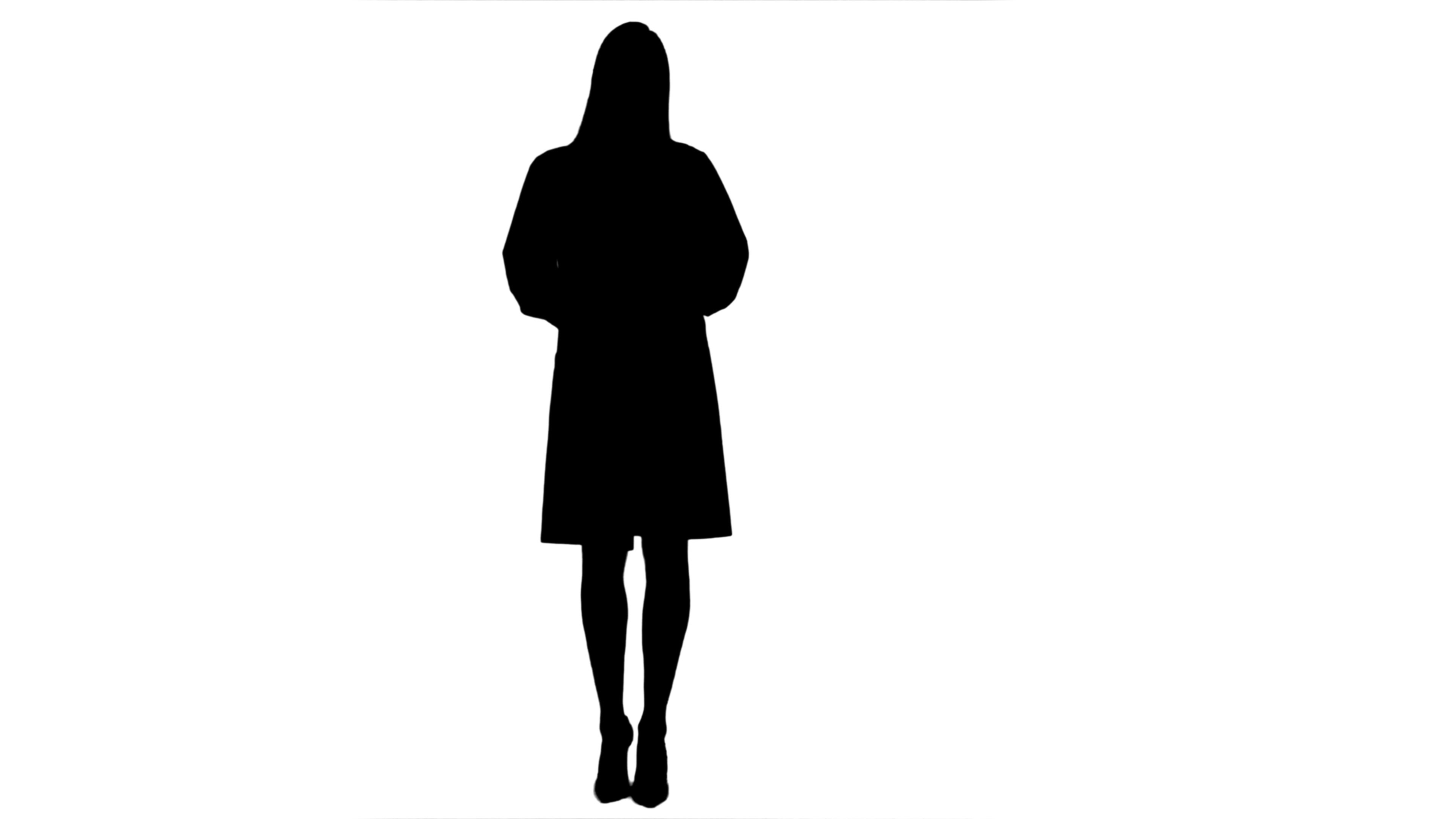 3840x2160 Silhouette Serious Young Woman In Lab Uniform Talking To