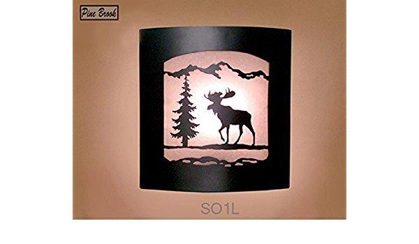 600x350 Wall Sconce Rustic Moose Light, Cabin Decor Lamp, Pine