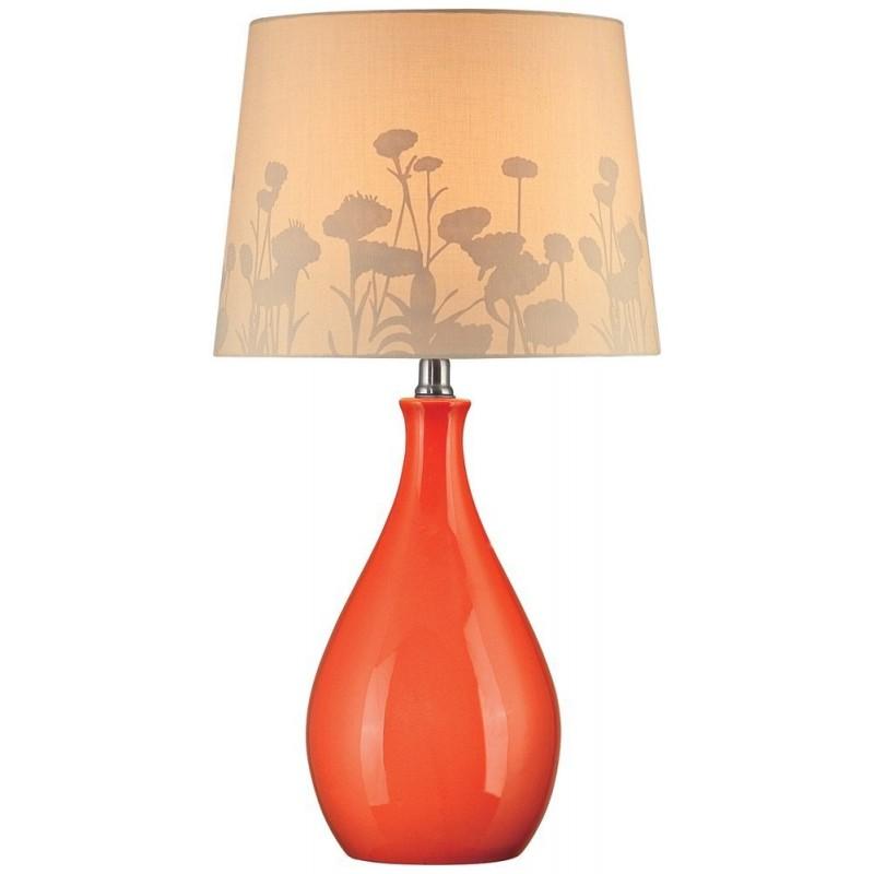 800x800 Lamp, Orange Ceramic With Silhouette Paper Shade