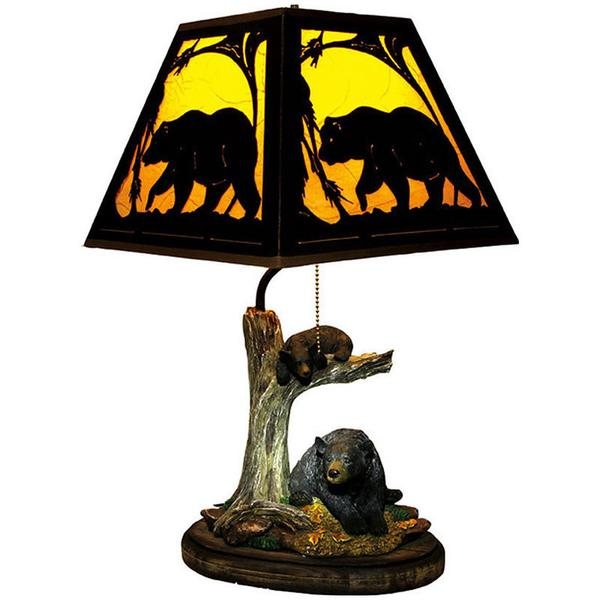 600x600 Bears In A Tree Lamp With Silhouette Shade 487 Buffalo Trader Online
