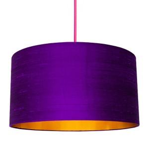 300x300 Silhouette Cotton Lampshade (Silver Lemur In Lilac)