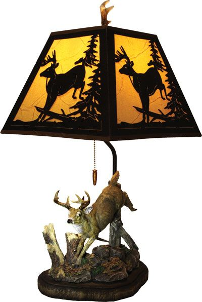 400x596 Deer Figurine Lamp And Shade Deer Silhouette, Country Decor And Room