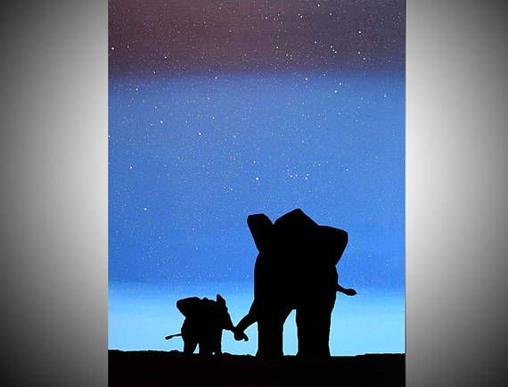 570x434 Elephant Animal Original Painting Mother Baby African Blue Gifts