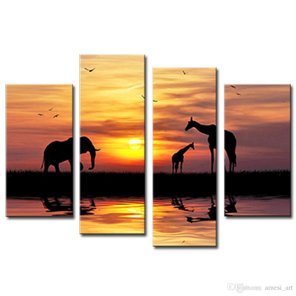 1000x1000 Online Cheap 4 Picture Combination Wall Art Silhouette Elephant