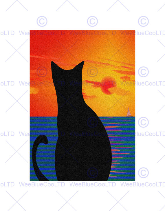 570x728 Painting Cat Landscape Silhouette Sunset Sea Boat Print Poster