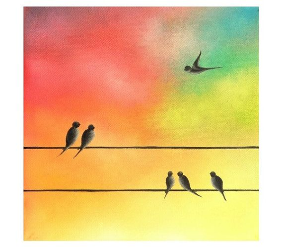 570x501 Print Of Colorful Birds Painting Photo Print Of Bird By Bingart