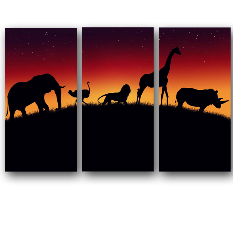 800x800 Triple Modern Africa Nightfall Landscape Paintings Canvas Printed