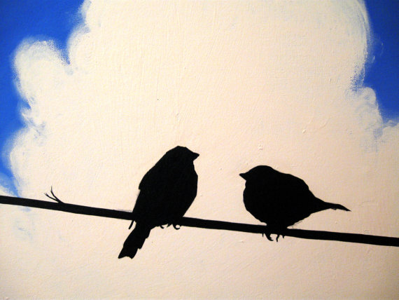 570x428 Canvas Art Love Birds Love Birds 3 Sizes