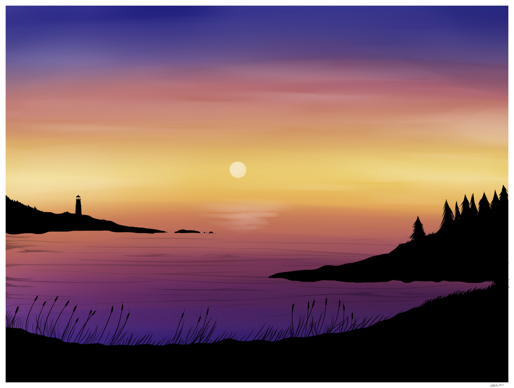 1024x774 Digital Watercolor Sunset By Insomniadoodles