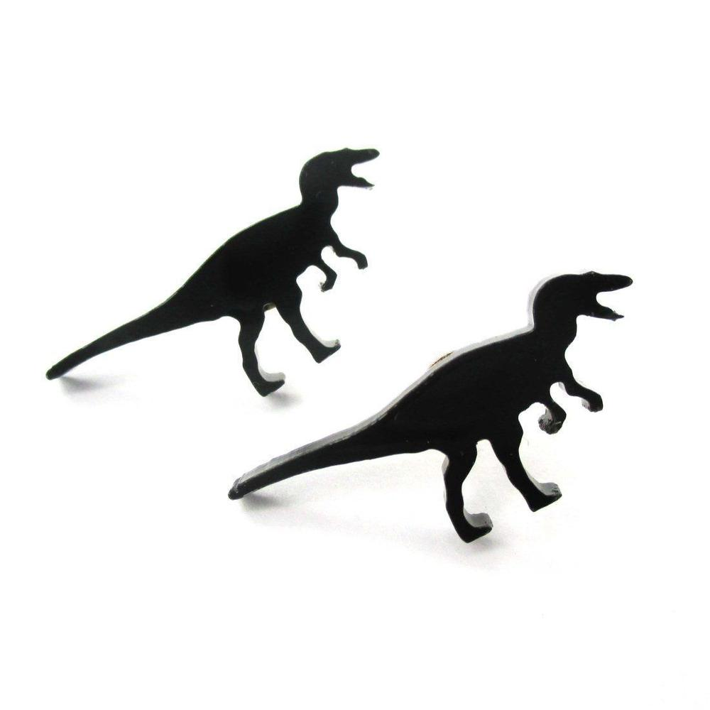 1000x1000 T Rex Silhouette Dinosaur Shaped Laser Cut Stud Earrings In Black