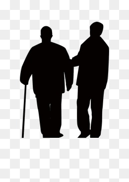 260x367 Leaning Silhouette Elderly, Warm Affection, Old People Png Image
