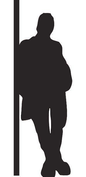 298x608 Man, Gentleman, Outline, Leaning, Inclined, Silhouette, Standing