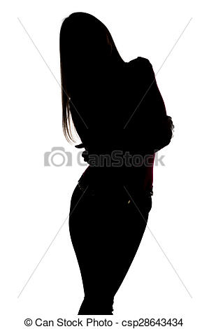 299x470 Silhouette Of Slim Woman With Leaning Head On White Stock