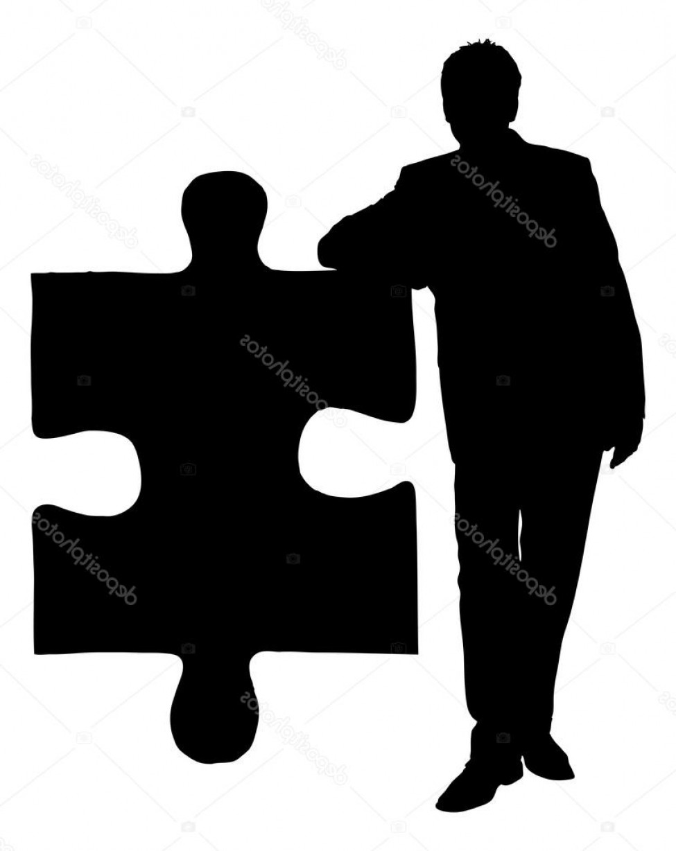 975x1228 Stock Illustration Silhouette Businessman Leaning On Jigsaw Ardiafm