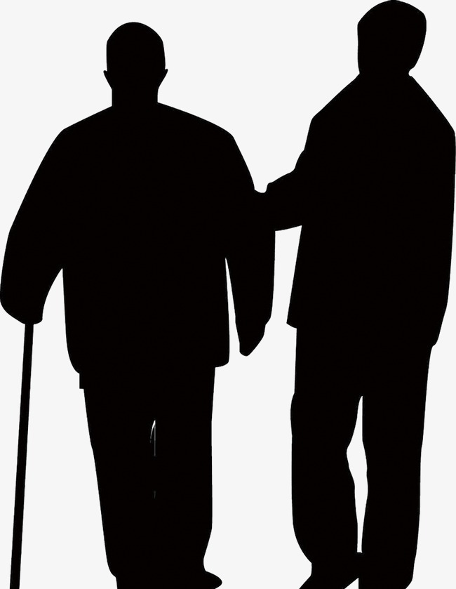 650x839 Young Leaning Silhouette Elderly, Young People, Leaning, Old