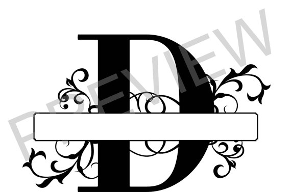 570x377 Split Monogram Svg, Letter D Regal Split Alphabet, Vector Files