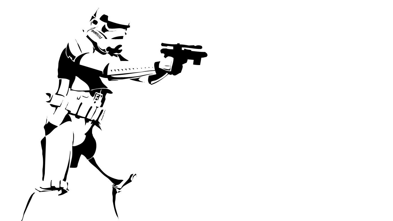 1366x768 Wallpaper Illustration, Star Wars, Weapon, Silhouette, Line Art