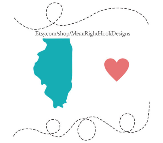 570x502 Illinois Svg State Silhouette Heart Svg And Dotted Lines