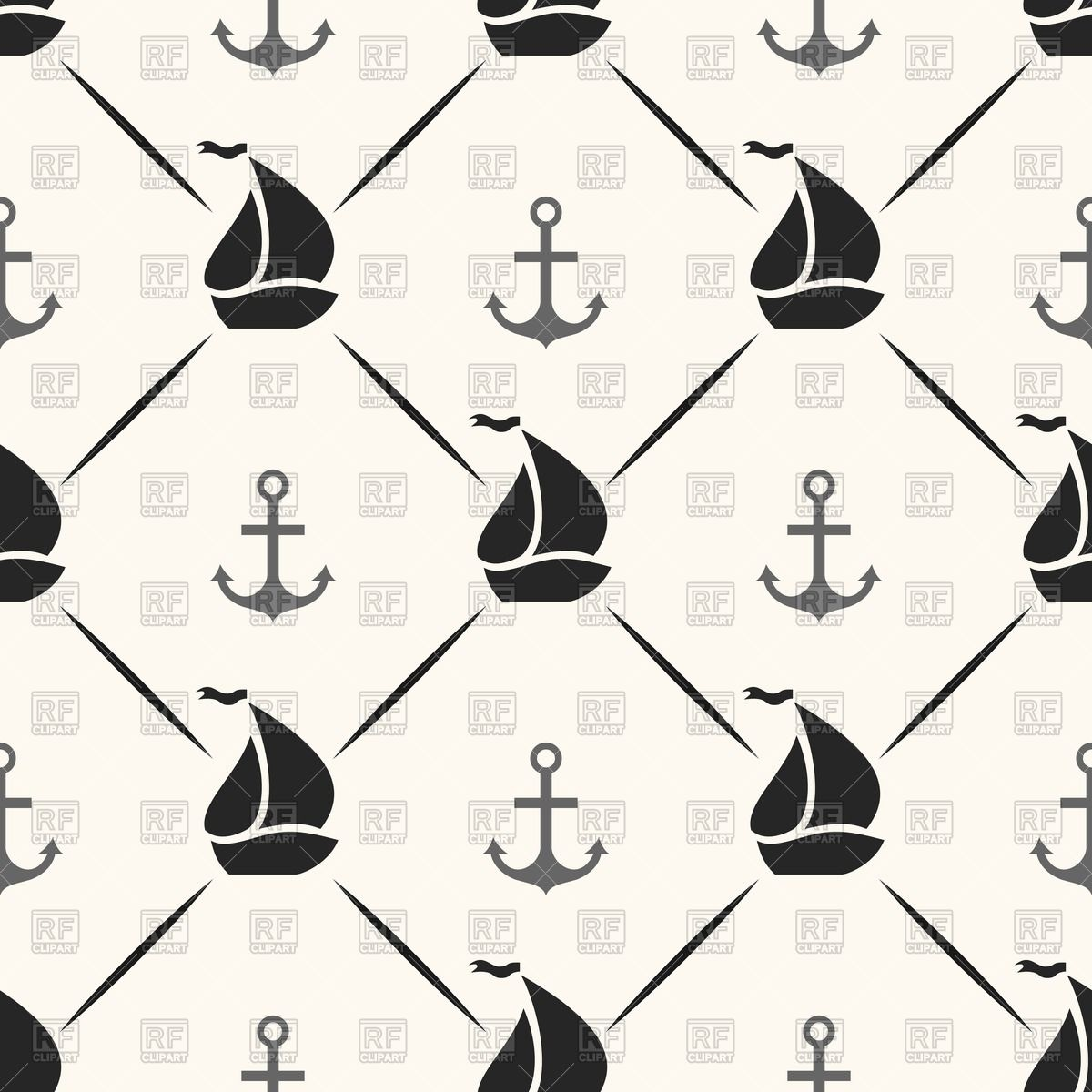 1200x1200 Seamless Wallpaper With Pattern Of Anchor And Sailboat Silhouettes