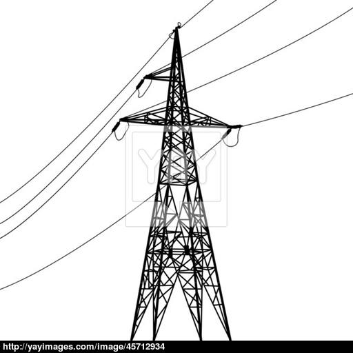 512x512 Silhouette Of High Voltage Power Lines. Vector