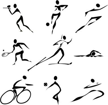 381x368 Sports Figures Silhouette Free Vector Download (8,315 Free Vector
