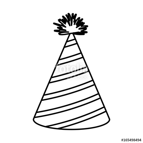 500x500 Monochrome Silhouette Of Party Hat With Diagonal Lines Decoratives