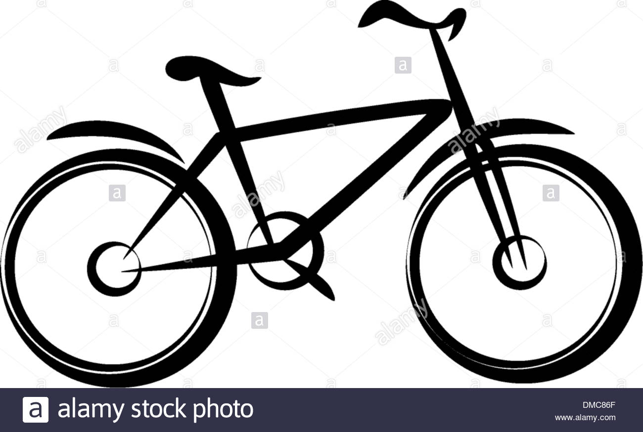 1300x875 Mountain Bike, Bicycle Silhouette In Simple Black Lines Stock