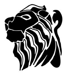 236x265 Lion Silhouette And Clip Art Cheetah Face Tribal Design Stock