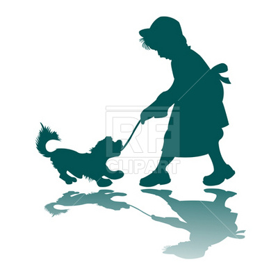 400x400 Little Girl And Dog Silhouette Royalty Free Vector Clip Art Image