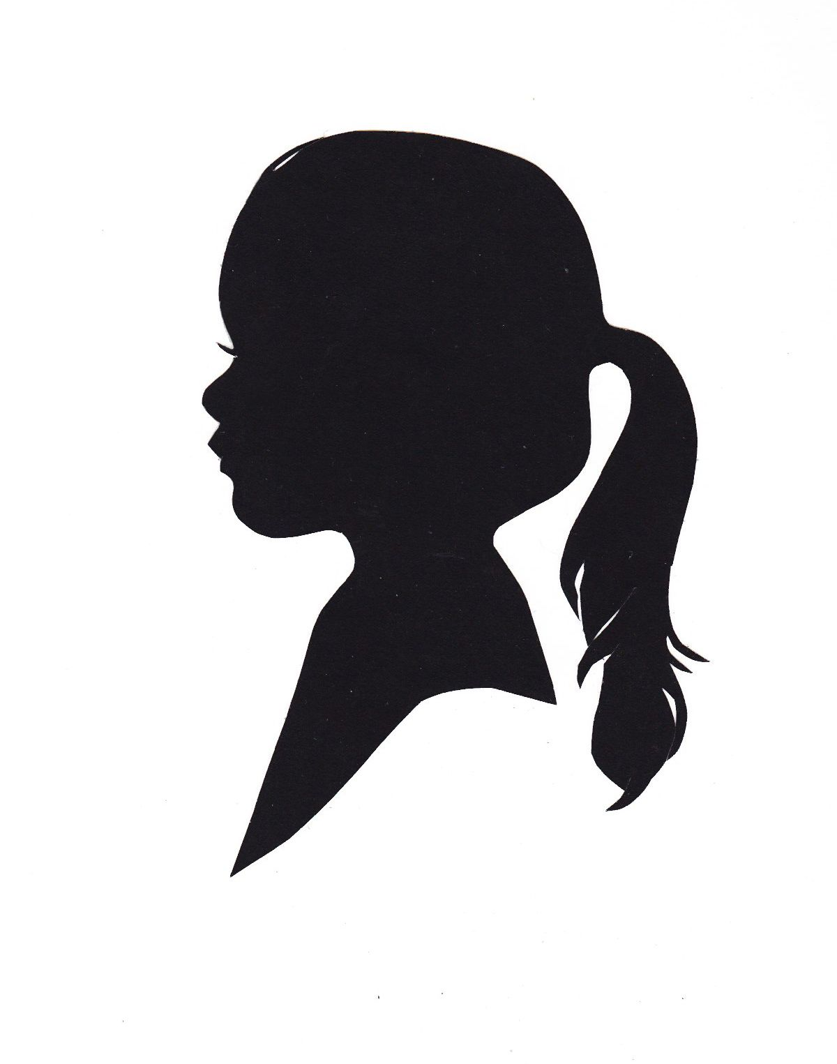 1200x1525 Silhouette Of A Little Girl With Ponytail Decorative Silhouettes