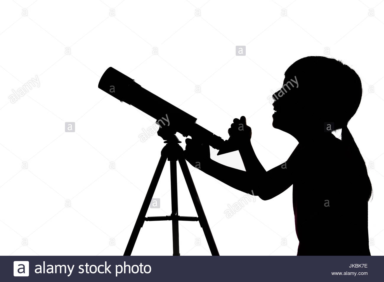 1300x956 Silhouette Of Little Girl Looking Through A Telescope In Isolated