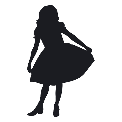 512x512 Little Girl Silhouette Group
