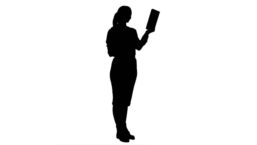 852x480 Silhouette Attractive Young Woman Using A Touchscreen Tablet
