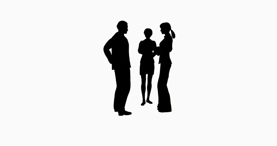 910x480 4k Business People Silhouette Talking. Cg 02758 4k Stock Footage