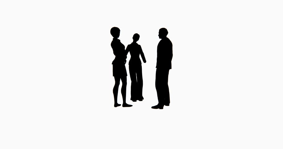 910x480 4k Business People Silhouette Talking. Cg 02764 4k Stock Footage