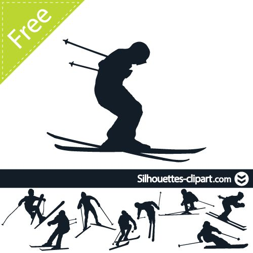500x500 Skier Vector Silhouette Silhouettes Clipart Silhouettes