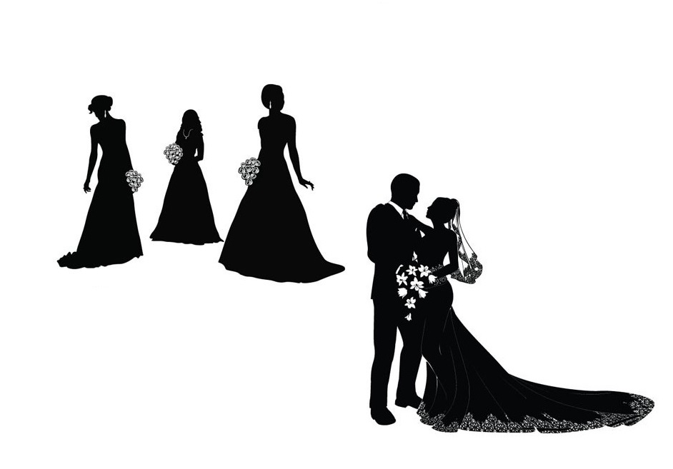 942x657 Bride Silhouette Black And White Vector Bride And Groom